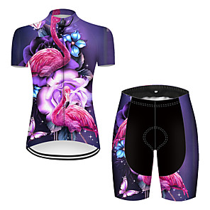 cheap Cycling Jersey & Shorts / Pants Sets-21Grams Women's Short Sleeve Cycling Jersey with Shorts Nylon Polyester Violet Flamingo Animal Floral Botanical Bike Clothing Suit Breathable 3D Pad Quick Dry Ultraviolet Resistant Reflective Strips