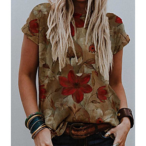 cheap Hair Jewelry-Women's T-shirt Floral Round Neck Tops Loose Basic Top Brown