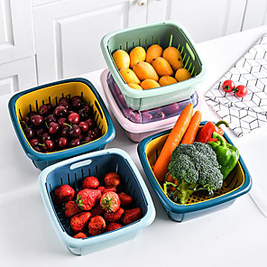 cheap Jars & Boxes-Multifunctional Double-layer Drain Basket Kitchen Strainer Vegetables Fruit Drain Storage Basket Refrigerator Fresh Box With Lid