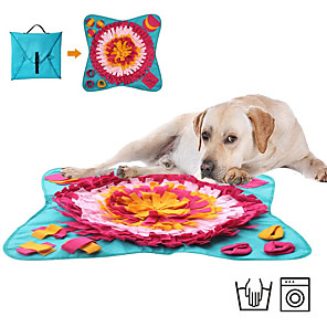 cheap Synthetic Trendy Wigs-Feeding Mat Snuffle Mat Dog Cat Pet Toy 1 set Flower Foldable Reusable Pet Exercise Encourage Natural Foraging Skills Canvas Gift