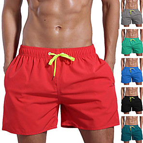 cheap Wetsuits, Diving Suits & Rash Guard Shirts-Men's Swim Shorts Swim Trunks Board Shorts Breathable Quick Dry Short Sleeve Drawstring - Swimming Diving Beach Solid Colored Autumn / Fall Spring Summer / Micro-elastic