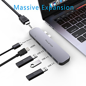 cheap USB Hubs & Switches-PULWTOP Dual USB Type C Hub to Dual HDMI Output Triple Display for MacOS USB 3.0 Type C 60W PD 4K 60Hz 1080p 30Hz USB C Adapter Docking for Macbook Pro Air 2020 Support Extended and Mirror Mode