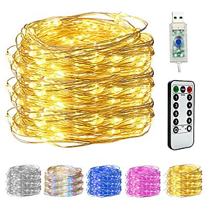 cheap Cell Phone Cables-10M 100LED Copper Wire String Lights Outdoor String Lights USB Plug-in Fairy Lights With Remote 8 Modes Lights Waterproof Remote Control Timer Christmas Wedding Birthday Family Party Room Valentine's