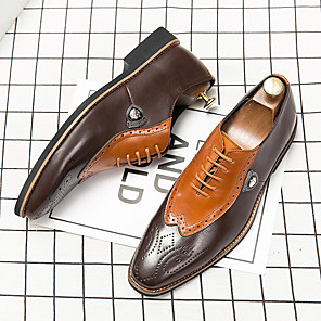 cheap Men's Oxfords-Men's Summer Business / Casual Daily Oxfords Walking Shoes Leather Breathable Non-slipping Wear Proof Black / Brown