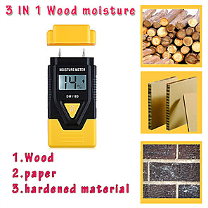 cheap Projectors-3 In 1 Digital Moisture Meter Garden Wood Paper Hardened Materials Ambient Temperature Testing Tools