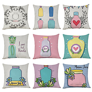 cheap Throw Pillow Covers-9 pcs Linen Pillow Cover, Make A Wish Bottle Love Casual Modern Square Traditional Classic