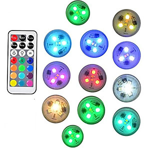 cheap LED Cabinet Lights-12pcs 10pcs Remote Controlled RGB Submersible Light Underwater Night Lamp Swimming Pool Vase Bowl Outdoor Garden Wedding Party Decoration Battery Operated
