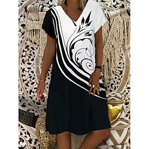cheap Party Sashes-Women's Shift Dress Knee Length Dress - Short Sleeve Graphic Print Summer V Neck Casual Daily 2020 Black M L XXXL