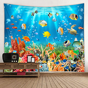cheap Wallpaper-School of Fish Digital Printed Tapestry Decor Wall Art Tablecloths Bedspread Picnic Blanket Beach Throw Tapestries Colorful Bedroom Hall Dorm Living Room Hanging