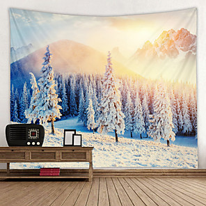 cheap Wall Tapestries-The Snow Mountain Rises to The Runrise Digital Printed Tapestry Decor Wall Art Tablecloths Bedspread Picnic Blanket Beach Throw Tapestries Colorful Bedroom Hall Dorm Living Room Hanging