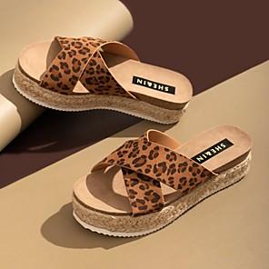 cheap Women's Sandals-Women's Slippers & Flip-Flops Summer Platform Open Toe Daily PU Black / Champagne / Brown
