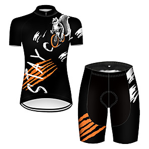 cheap Cycling Jersey & Shorts / Pants Sets-21Grams Women's Short Sleeve Cycling Jersey with Shorts Nylon Polyester Black / White Animal Squirrel Bike Clothing Suit Breathable 3D Pad Quick Dry Ultraviolet Resistant Reflective Strips Sports
