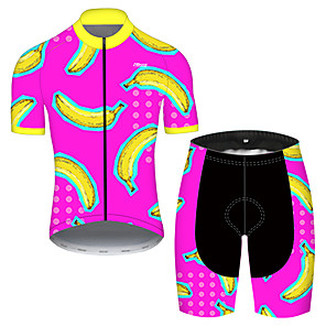 cheap Cycling Jersey & Shorts / Pants Sets-21Grams Men's Short Sleeve Cycling Jersey with Shorts Nylon Polyester Red / Yellow Fruit Banana Bike Clothing Suit Breathable 3D Pad Quick Dry Ultraviolet Resistant Reflective Strips Sports Fruit