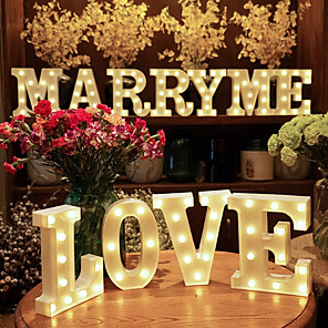 cheap Décor & Night Lights-Plastic Letter LED Night Light Marquee Sign Alphabet Lights Lamp Home Club Outdoor Indoor Party Wedding Home Decoration