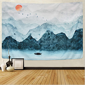 cheap Wall Tapestries-Chinese Ink Painting Style Wall Tapestry Art Decor Blanket Curtain Hanging Home Bedroom Living Room Decoration Landscape Mountain Sun