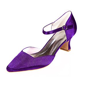 cheap Wedding Shoes-Women's Wedding Shoes Spring / Summer Block Heel Pointed Toe Minimalism Wedding Party & Evening Rhinestone Solid Colored Satin White / Black / Purple