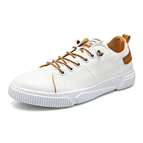 cheap Men's Slip-ons & Loafers-Men's Summer / Fall Casual / Chinoiserie Daily Outdoor Sneakers PU Breathable Non-slipping White / Brown / Gray