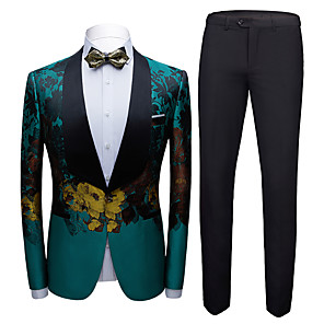 cheap Cell Phones-Tuxedos Standard Fit Shawl Collar Single Breasted One-button Chiffon / Polyester Embossed / Lattice / Printing