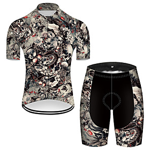 cheap Cycling Jersey & Shorts / Pants Sets-21Grams Men's Short Sleeve Cycling Jersey with Shorts Nylon Polyester Red+Black Novelty Skull Floral Botanical Bike Clothing Suit Breathable 3D Pad Quick Dry Ultraviolet Resistant Reflective Strips