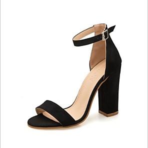 cheap Women's Sandals-Women's Sandals Summer Pumps Open Toe Daily Suede Black / Yellow / Pink