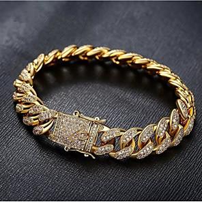 cheap Pendant Necklaces-Men's White Bracelet Cuban Link Weave Trendy Alloy Bracelet Jewelry Gold / Silver For Party Evening