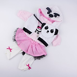 cheap Reborn Doll-Reborn Baby Dolls Clothes Reborn Doll Accesories Cotton Fabric for 20-22 Inch Reborn Doll Not Include Reborn Doll Panda Soft Pure Handmade Girls' 4 pcs