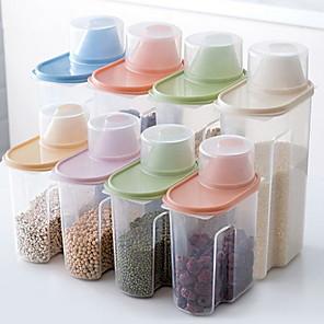 cheap novelty kitchen tools-Transparent Grain Cereal Kitchen Storage Tank 1 Set 4Pcs 2.5L