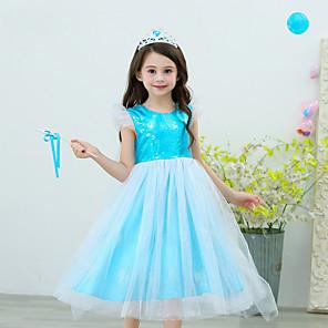 cheap Movie & TV Theme Costumes-Elsa Dress Flower Girl Dress Girls' Movie Cosplay Blue Dress Polyester