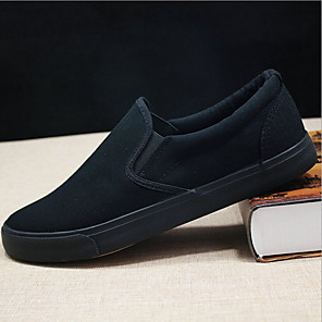 cheap Men's Slip-ons & Loafers-Men's Fall Casual Office & Career Loafers & Slip-Ons Canvas / PU Black / White / White / Black