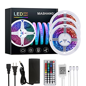cheap LED Strip Lights-MASHANG 15M(3*5M) LED Strip Lights RGB Tiktok Lights 900LEDs Flexible Color Change SMD 2835 with 44 Keys IR Remote Controller and 100-240V Adapter for Home Bedroom Kitchen TV Back Lights DIY Deco