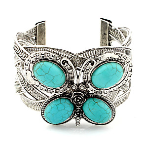cheap Party Sashes-Women's Cuff Bracelet 3D Butterfly Statement Turquoise Bracelet Jewelry Silver For Date Festival