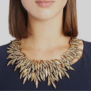 cheap Necklaces-Women's Collar Necklace Leaf Statement Chrome Gold Silver 50 cm Necklace Jewelry For Festival