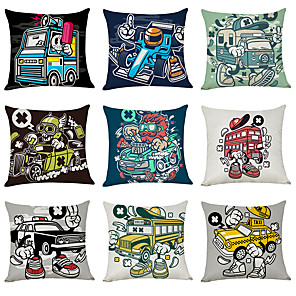cheap Throw Pillow Covers-9 pcs Linen Pillow Cover, Car Casual Modern Square Traditional Classic