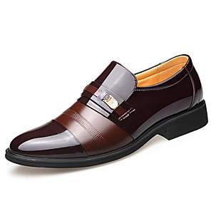cheap Women's Sandals-Men's Spring / Summer Classic Daily Oxfords Patent Leather Black / Brown