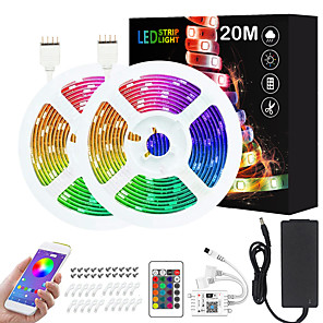cheap LED Strip Lights-ZDM 2x10M 24V Intelligent Dimming App Control Flexible Led Strip Lights 5050 Waterproof RGB SMD 600 LEDs IR 24 Key Controller with Installation Package  Kit DC24V