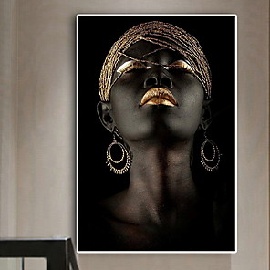 cheap People Paintings-Contemplator Black African Nude Woman Oil Painting on Canvas Posters and Prints Scandinavian Wall Art Picture for living room