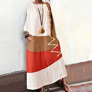 cheap Handbag & Totes-Women's Shift Dress Maxi long Dress - Half Sleeve Color Block Summer Casual 2020 White Orange Khaki Gray S M L XL XXL XXXL XXXXL
