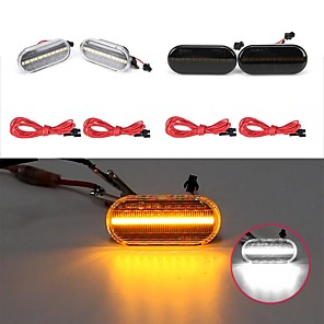 cheap Warning Lights-Dynamic Flowing LED Side Marker Indicator Repeaters Lights Yellow/White 2PCS For VW Ford Skoda Seat
