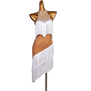 cheap Latin Dancewear-Latin Dance Dress Tassel Split Joint Crystals / Rhinestones Women's Performance Sleeveless Spandex