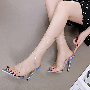 cheap Women's Sandals-Women's Sandals Summer Stiletto Heel Open Toe Daily PU Nude / Clear / Transparent / PVC
