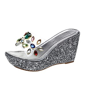 cheap Women's Sandals-Women's Sandals / Clogs & Mules Clear / Transparent / PVC 2020 Summer Wedge Heel Round Toe Daily Color Block Mesh Gold / Silver