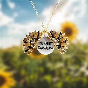 cheap Necklaces-Women's Pendant Necklace Lockets Necklace Sunflower Trendy Fashion Chrome Rose Gold Gold Silver 45 cm Necklace Jewelry For Casual Birthday Party Beach Festival