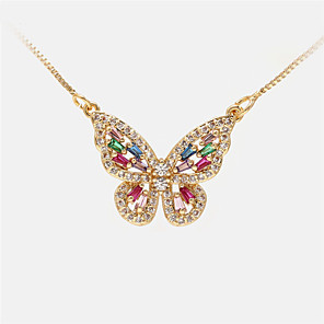 cheap Necklaces-Women's Pendant Necklace Long Necklace Butterfly Romantic Sweet Fashion Cute Copper White Gold Silver 20 cm Necklace Jewelry For Party Evening Prom Birthday Party Beach