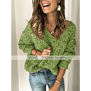 cheap Women's Sandals-Women's Solid Colored Pullover Long Sleeve Sweater Cardigans V Neck Blue Green Gray