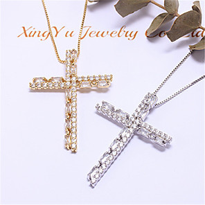 cheap Necklaces-Women's Synthetic Diamond Necklace Cross Artistic Classic Copper Gold Silver 55 cm Necklace Jewelry 1pc For Anniversary Street Festival