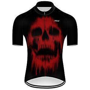cheap Cycling Jerseys-21Grams Men's Short Sleeve Cycling Jersey Nylon Polyester Black / Red Patchwork Skull Funny Bike Jersey Top Mountain Bike MTB Road Bike Cycling Breathable Quick Dry Ultraviolet Resistant Sports