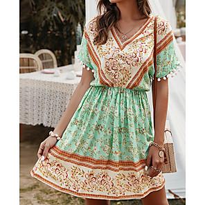 cheap Women's Heels-Women's A-Line Dress Knee Length Dress - Short Sleeves Print Summer Elegant Sexy 2020 Yellow Green S M L XL