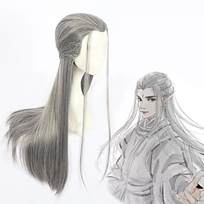 cheap Costume Wigs-Cosplay Costume Wig Cosplay Wig Zhu Yilong Guardians of the Galaxy Straight Cosplay Halloween Braid Wig Long Grey Synthetic Hair 31 inch Men's Anime Cosplay Cool Gray