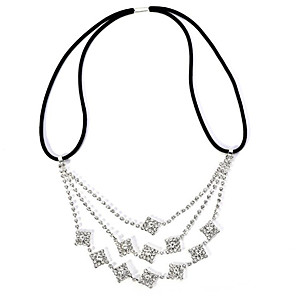 cheap Hair Jewelry-Women's Hair Jewelry For Birthday Festival Flower Pave Cubic Zirconia Cord Imitation Diamond White 1pc