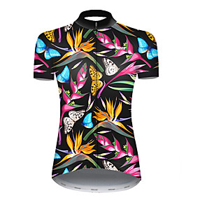 cheap Anime Costumes-21Grams Women's Short Sleeve Cycling Jersey Nylon Polyester Black / Blue Butterfly Floral Botanical Bike Jersey Top Mountain Bike MTB Road Bike Cycling Breathable Quick Dry Ultraviolet Resistant